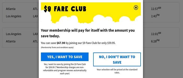 Spirit airlines $9 fare club