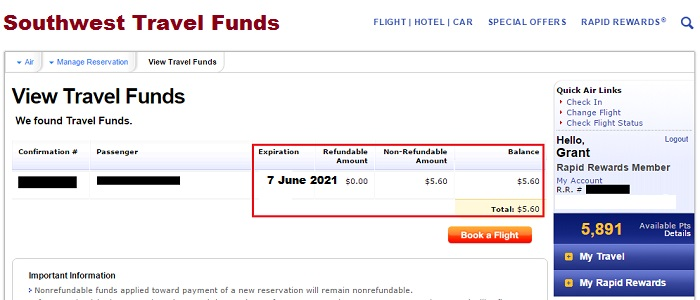 Southwest Travels funds